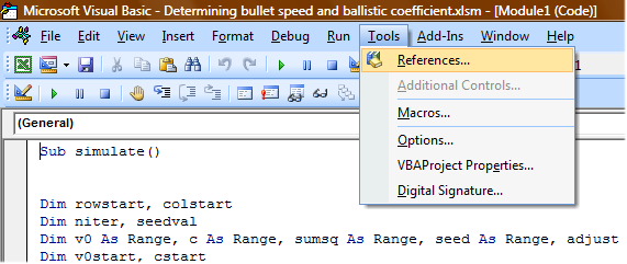 Excel and VBA settings for BfX